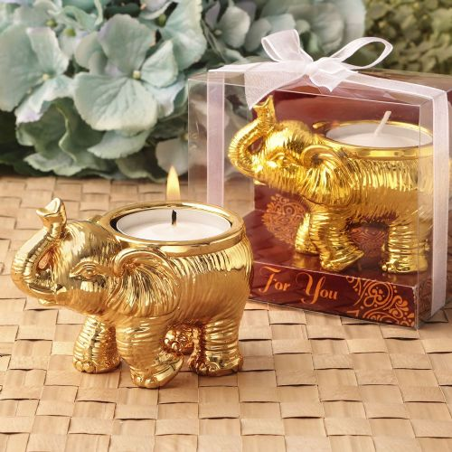 A Lucky Gold Elephant Candle Good Fortune Favour Gift